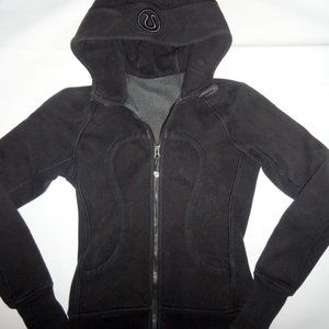 LULULEMON black Hooded Zip Up Long Sleeve Size 4